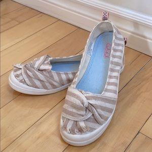 NWT Sugar MemoryFoam Beige Striped Flat Shoes, 9.5